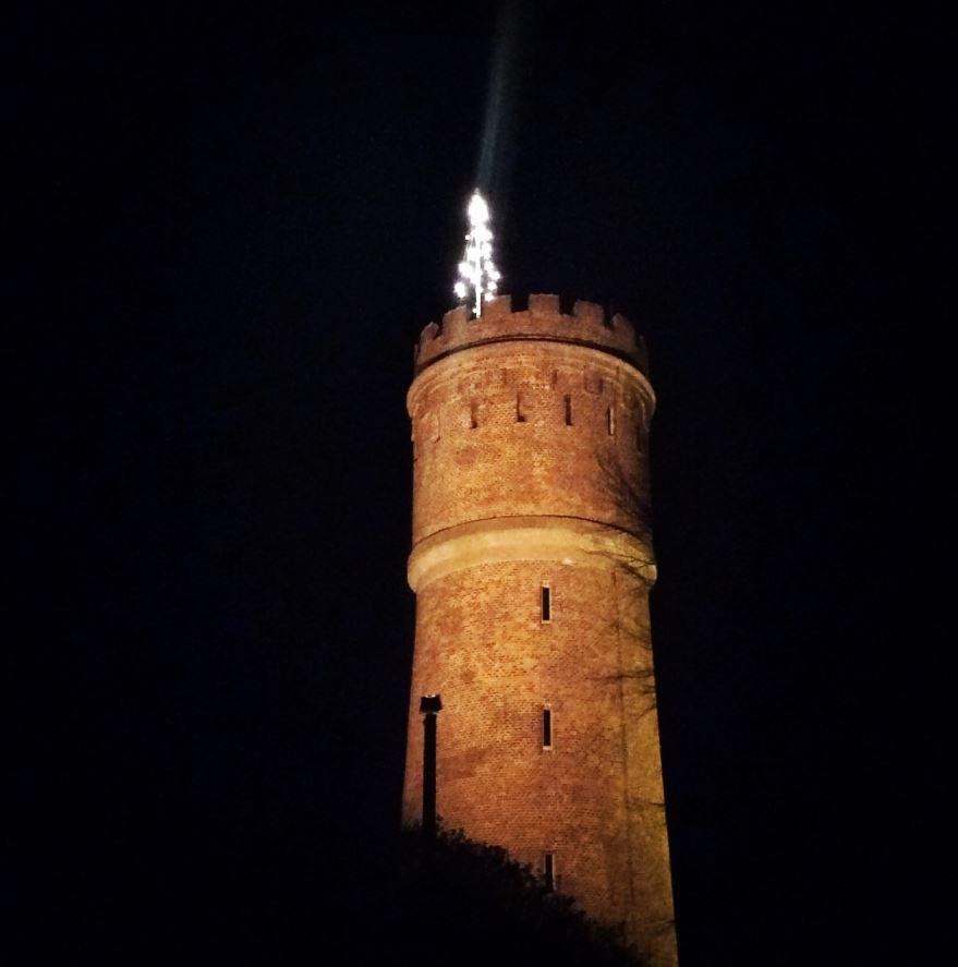 julelys på vandtårnet