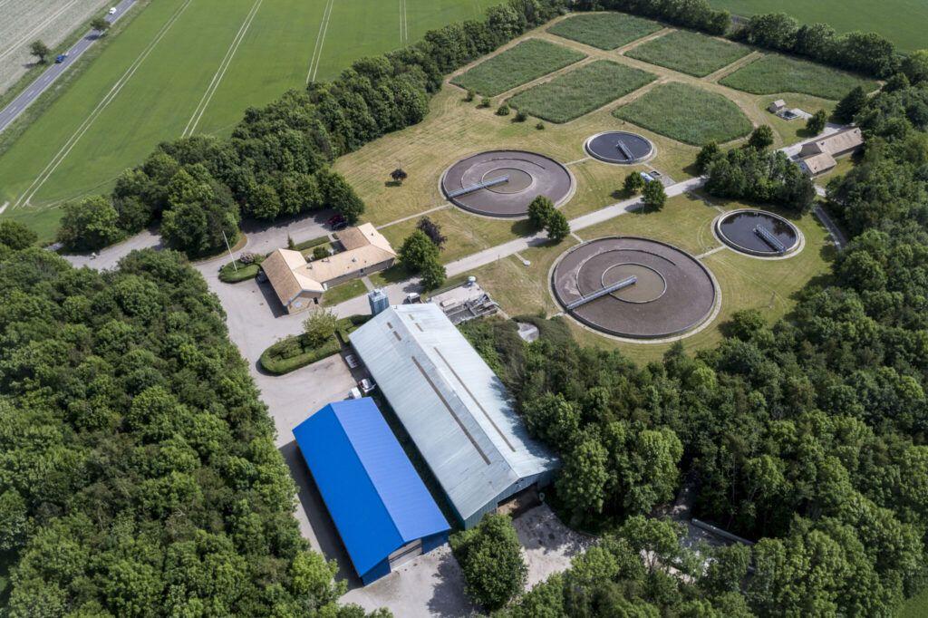 Dronefoto Fårevejle renseanlæg juni 2020