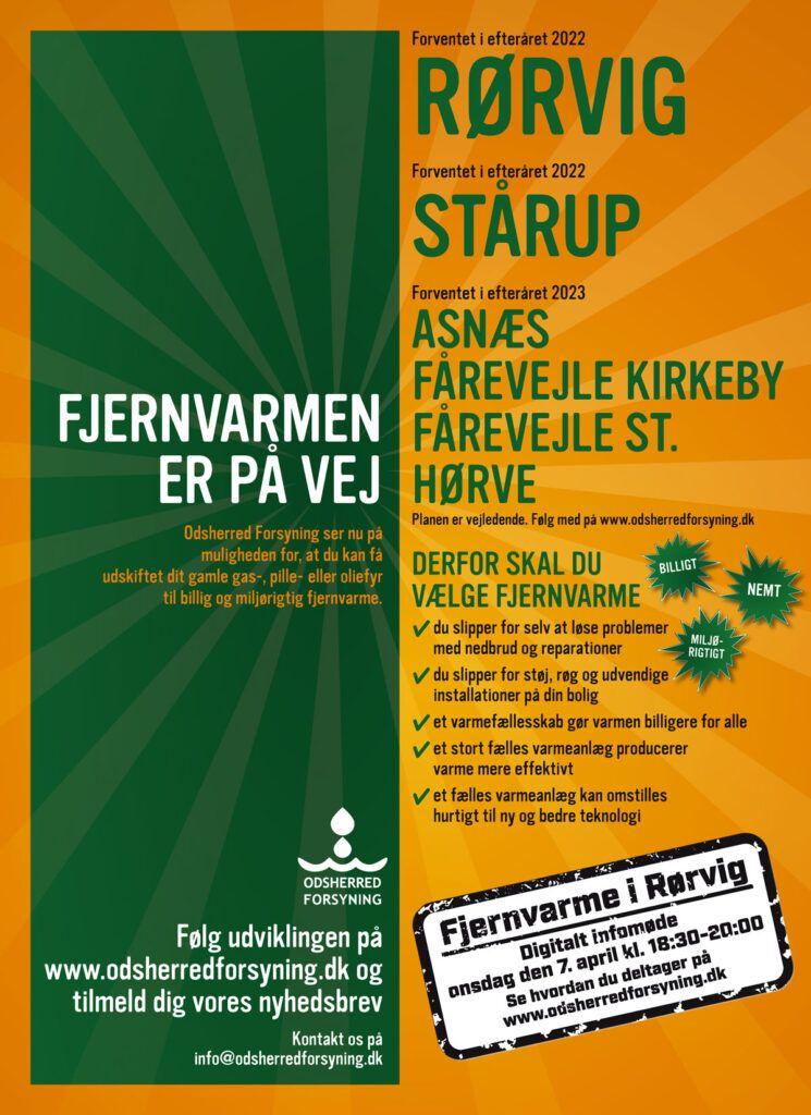 Annonce der informerer om fjernvarmeprojekt og digitalt infomøde i Rørvig.